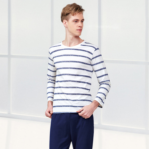 Image 2 - Pajama Set Cotton Gray Striped O neck Sleepwear Couple Home Clothes Plus Size High Quality Male Underwear Set 2020