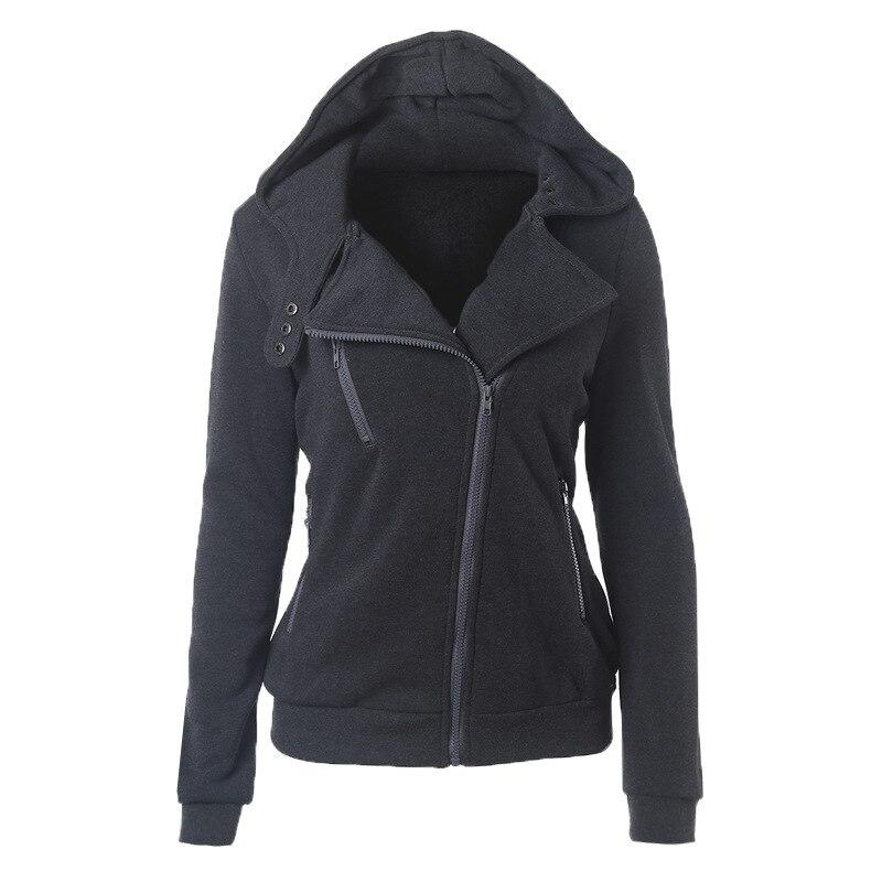 2017 Women Hoodies Sweatshirts Zipper Turn down Collar Hooded Thickend Outwear Coat Fitness Jacket Size S