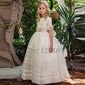 Цветок девочки платья длинные scoop половина рукава цветы украшение 2017 девушки первое причастие платья бальное платье CGF078