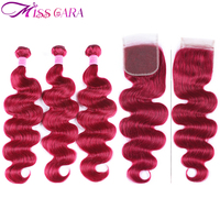 Miss Cara Burgundy# Peruvian Body Wave 3 Bundles With Frontal 100% Remy Human Hair Bundles With Closure 13*4 Frontal