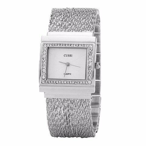 Relógios de Luxo Pulseira de Relógios de Quartzo Relógios de Pulso Cussi Mulheres Retângulo Strass Senhoras Moda Relógio Feminino A188