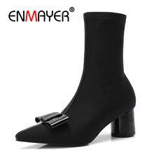 ENMAYER Bowtie Woman Ankle boots shoes Stretch Fabric Winter Causal Fashion boots Size 34-40 Pointed toe Strange heel CR1103 цены онлайн