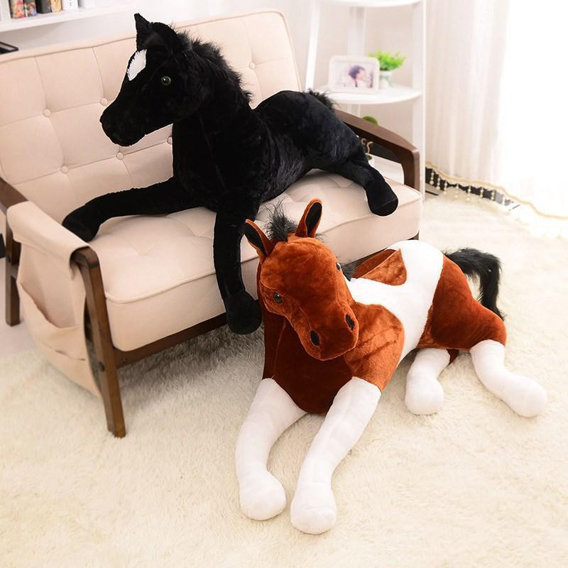Big Size Simulation animal 70x40cm horse plush toy prone horse doll for birthday gift larggest size 170cm simulation tiger yellow or white prone tiger plush toy surprised birthday gift w5490
