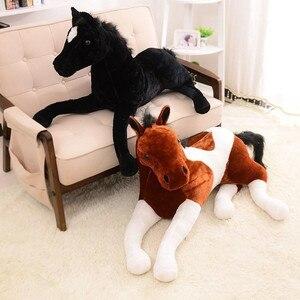 Image 1 - Tamanho grande simulação animal 70x40cm, cavalo, brinquedo de pelúcia, prata, cavalo, boneca para presente de aniversário