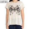 Hyh haoyihui cópia branca t-shirt das mulheres o-pescoço manga curta t-shirt básica tops tees ladies casula bonito rua diariamente feminino