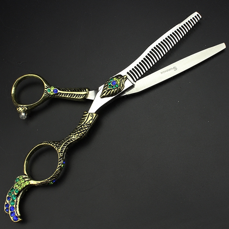 Sharonds 6 inch professional playing thin scissors personality Peacock King hair styling barber scissors free delivery