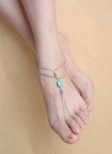Women Summer Foot Jewelry  Turquoise Slave Chain Toe Ring Beach Tribal Anklet Feet Girls Lot 10Pcs