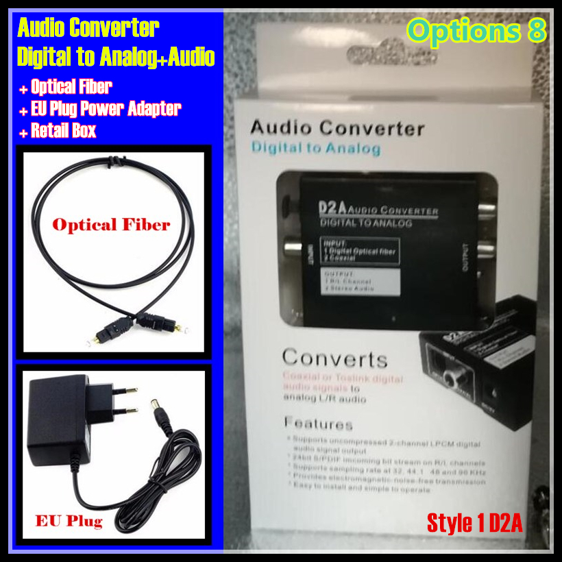Digital <font><b>Optical</b></font> Coaxial Toslink Signal to Analog <font><b>Audio</b></font> Converter Adapter RCA L/R with <font><b>3.5mm</b></font> <font><b>Jack</b></font> output Eu&US Plug Power Adapter image