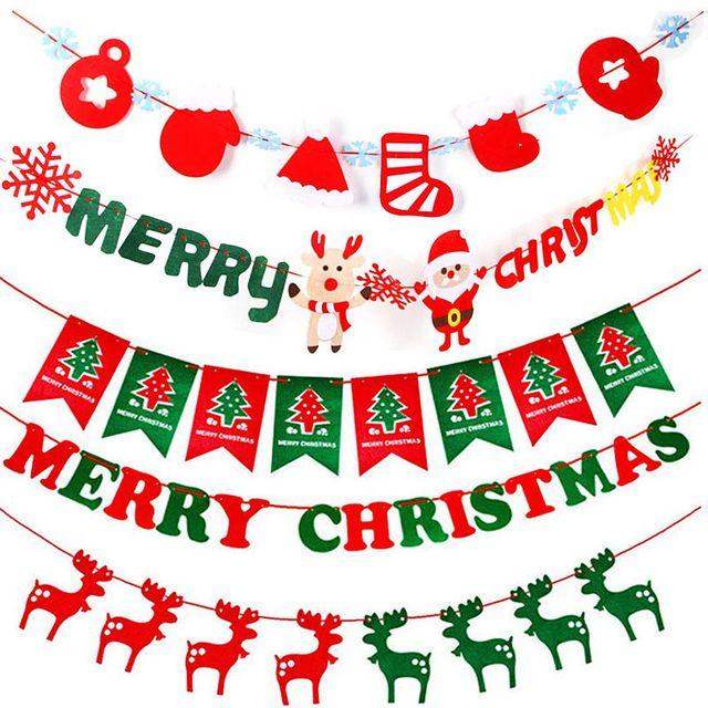 Inicio Feliz Navidad.0 99 18 De Descuento Feliz Navidad Bunting Garland Banner Colgante Bandera Diy Inicio Decoracion Del Partido De Navidad Decoraciones De Navidad