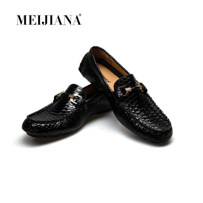 MEIJIANA Causal Shoes Genuine Cow leather Mens Loafers Fashion Handmade Moccasins Slip On Black Men s