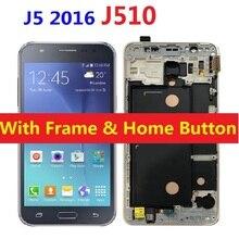 LCD Display Touch Screen Digitizer Sensor with Frame Home Button For Samsung Galaxy J5 2016 J510F J510F/DS J510H/DS J510FN J510M чехол силиконовый для samsung galaxy j5 2016 sm j510f ds прозрачный