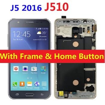 Lcd Touch Screen Digitizer Sensor met Frame Home Button Voor Samsung Galaxy J5 2016 J510F J510F/DS J510H /DS J510FN J510M