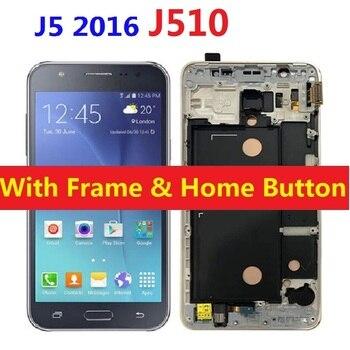 Lcd ekran dokunmatik ekran digitizer sensörü ile çerçeve ana düğme Samsung Galaxy J5 2016 J510F J510F/DS J510H/DS J510FN j510M