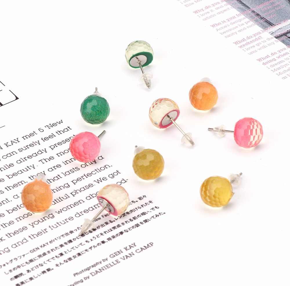 ANGELADY 1 Paar Österreichischen AB Kristall Ball Stud Ohrringe für Frauen Post Hochzeit Brautjungfer Schmuck 5 Farben