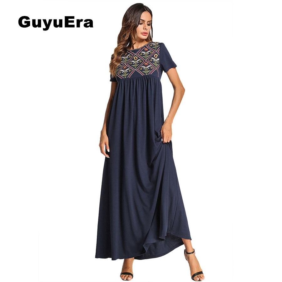 GuyuEra 2018 Новые африканские платья Национальный стиль вышивка сшитое платье мусульманское с коротким рукавом однотонное платье