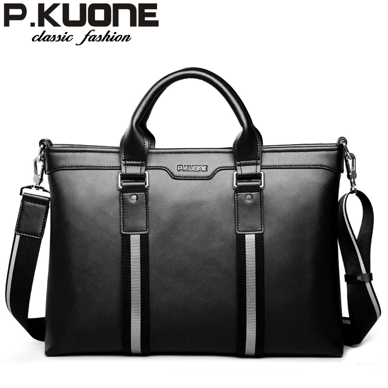 P.KUONE 2018 Genuine Leather Shoulder Bag Designer Men Laptop Bags Travel Business Briefcase For Men Famous Luxury Brand Handbag стоимость