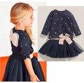 2016 Nuevos Grils Vestidos Little Stars t-shirt + Short del Vestido de Traje de Los Niños Princesa Vestido De La Muchacha Niños ropa H344