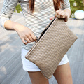 Woven Clutch Grey Lady Bags New Big Handbags Tote Banquet Package Women 2016 Simple Large File Hand Bags Soft Zipper Bayan Canta