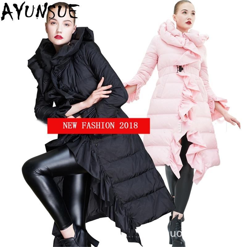 bd3a04fcbab2 Anatra Giacca Inverno Collare Caldo Parka Sveglio 2018 Eleganti Marca Nuovo  Lungo Lx2320 A Ruffles 90 Black pink Imbottiture Donne ...