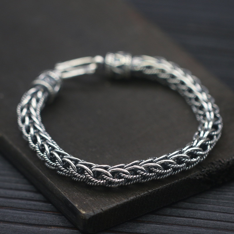 Здесь продается  S925 Sterling Silver Hemp Flower Hand-made Snake Bone Bracelet Thai Silver Retro 8mm Men