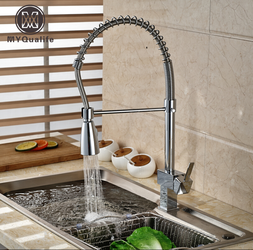 Single Handle Polished Chrome Kitchen Faucet Deck Mount One Hole Hot and Cold Water Mixer Taps Dual Sprayer Nozzle swanstone dual mount composite 33x22x10 1 hole single bowl kitchen sink in tahiti ivory tahiti ivory