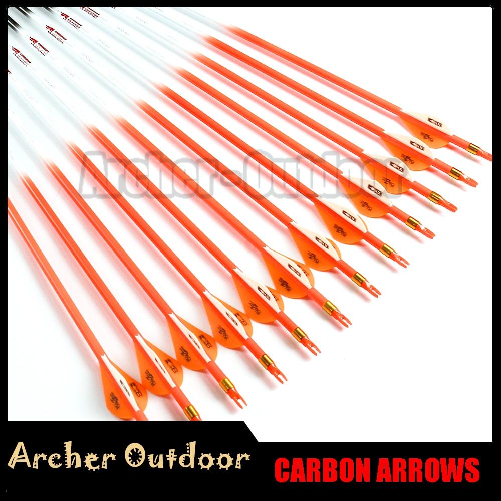 12Pcs Linkboy Archery spine 300 340 400 500 600 ID 6 2mm Carbon Arrow Plastic Vanes