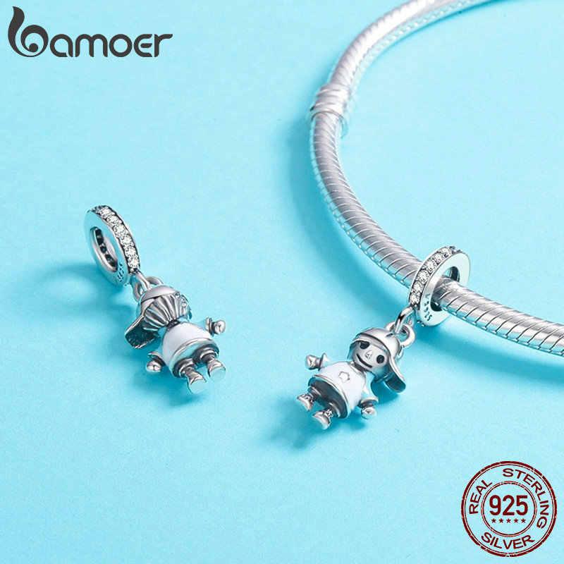 Bamoer Baru 100% 925 Sterling Silver Pasangan Gadis Kecil dan Anak Laki-laki Liontin Pesona Fit Gadis Pesona Gelang DIY Perhiasan SCC544