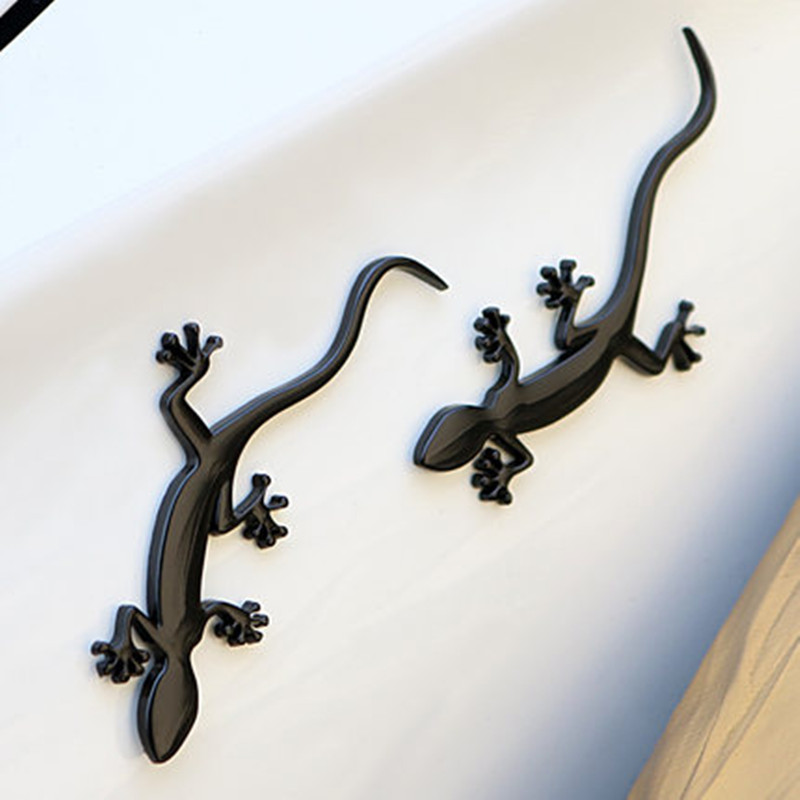 Car Styling 3D Black Gecko Lizard Metal Chrome Emblem Sticker Auto Motorcycle Logo Badge Cover Decoration Accessories Quality A dragon emperor kaiser loong imperial chinese character script 3d metal diy car auto motorcycle badge emblem sticker car styling