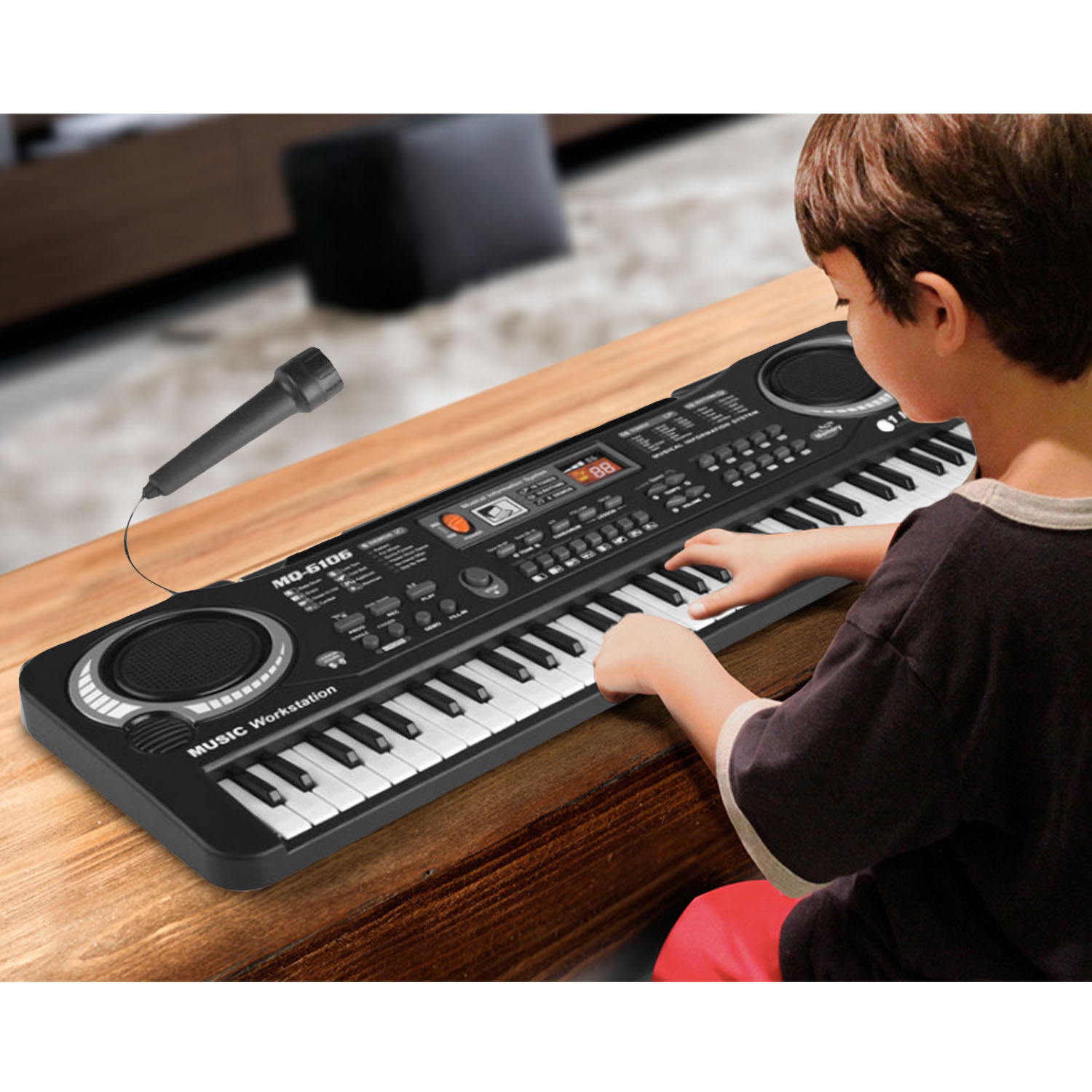 Multi-function 61-Key Electronic Keyboard Piano Musical Digital Key Board Teaching Toy With Microphone For Kids Gift US Plug