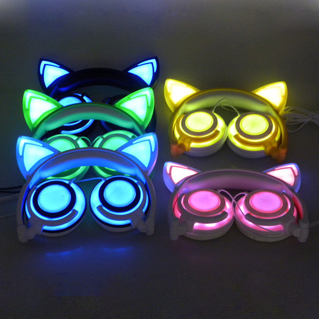 Askmeer Foldable Luminous Gaming Headphones Glowing Flashing Earphone Headset with Cute Cats Ear for PC Laptop Phone Music