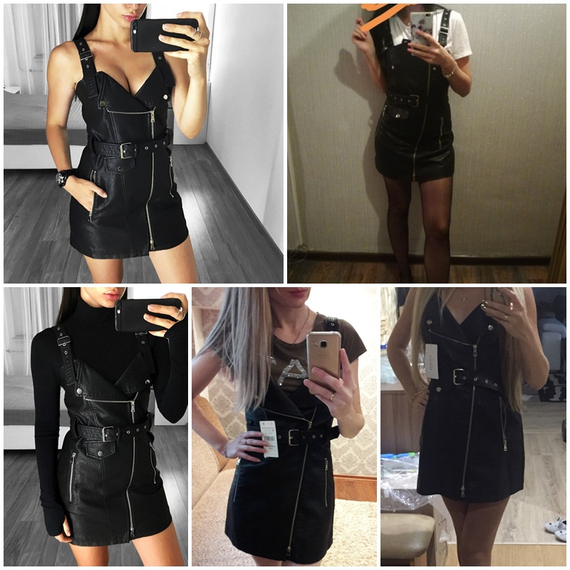 2018 Hot Sale Fashion Lady Sexy Leather Black Short Dress