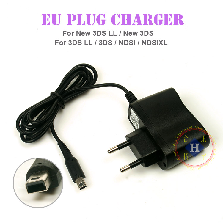 Black EU Plug Charger Power Supply For Ac Adapter New 3DS XL 3DS LL / New 3DS / 2DS