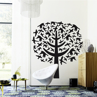 Tree wall sticker creative home decor black adhesive birds decal plant mural large