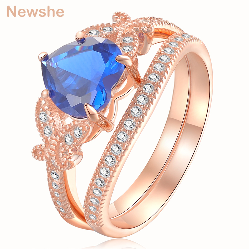 Newshe 2.2 Ct Wedding Rings For Women 925 Sterling Silver Rose Gold Color Blue Heart Shape AAA CZ Engagement Ring Bridal Set newshe 925 sterling silver rose gold color dangle drop earrings 6 ct red rhinestone heart shape aaa cz fashion jewelry for women