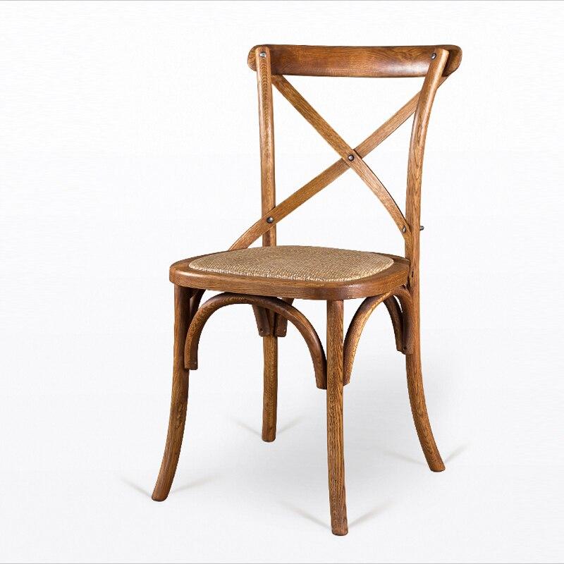Американский Стиль село твердый деревянный стул ретро Обеденная спинка кресла Простой назад кирпич кресло бытовой Cafe сиденье