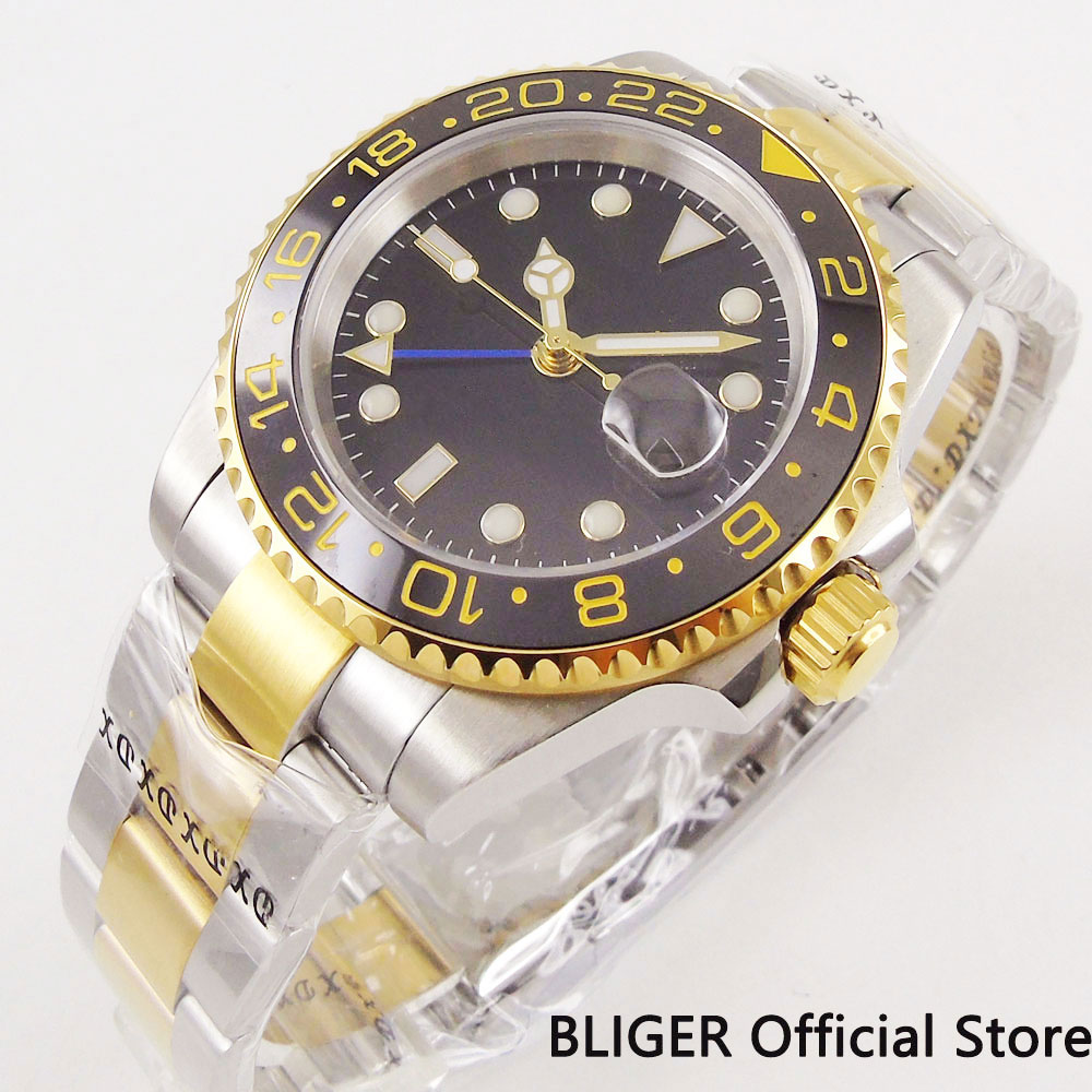 Sapphire Crystal 40mm Auto Date 40mm Gold Plated Self Winding Wristwatch Men's Watch With Mental Strap