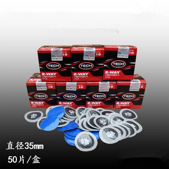 35mm 50 disco peças/caixa no tubo circular remendo de reparação de pneus pneu