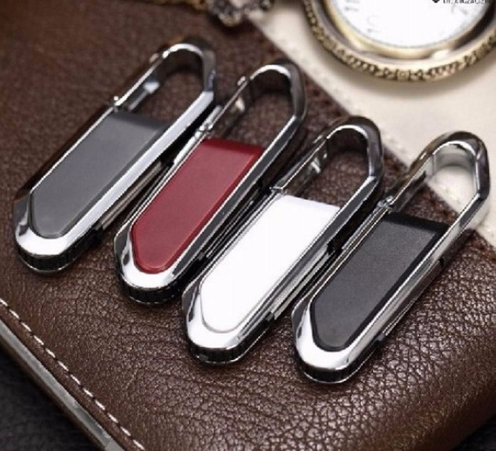 Metal Carabiner Leather Usb Flash Drive Pen Drive 64GB 8GB 16GB 32GB 128GB Pendrive Real Capacity Memory Stick Disk Free Shippin