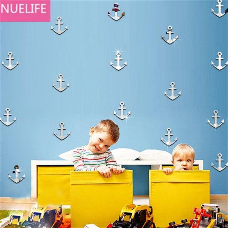 45 pcs Ancre motif miroir autocollant maternelle chambre salon enfants chambre TV canapé fond autocollant de décoration murale