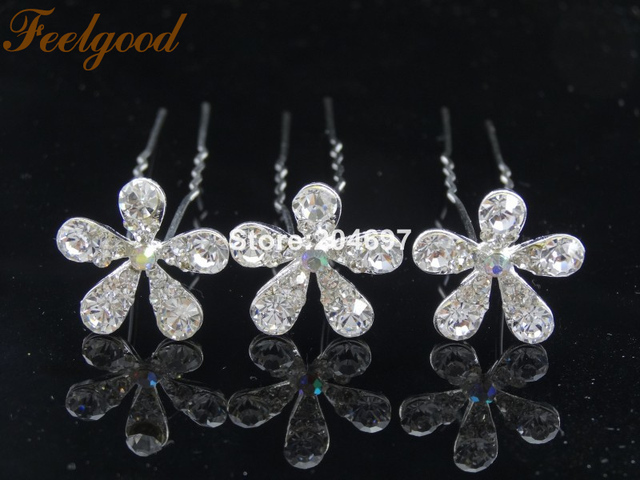 Feelgood 200pcs lot White Crystal Flower Hairpins Elegant Wedding Bridal  Hair Jewelry Accessories Wholesale 8b5167cbf270
