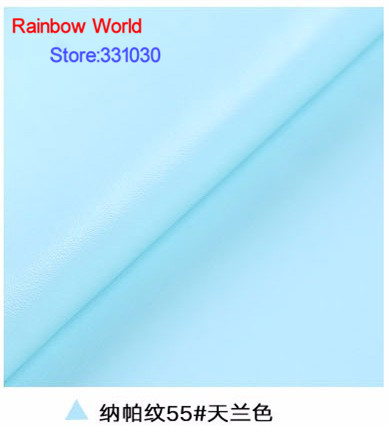 55# light blue High Quality Nappa Stripes vein grain PU Leather fabric for DIY sofa bed shoes bags Garment material(138*100cm)