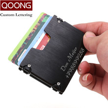 QOONG New Arrival Metal Credit Card ID Holder Fashion Mini Money Holder With RFID Anti-chief Wallet Credit Card Case KH1-019H 2019 new card holder new metal id credit card holder anti rfid wallet business card holder wallet for credit cards case