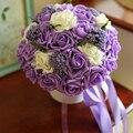 Мэнди 2016 свадебные аксессуары шелковыми лентами ручной многоцветный градиент моделирование розы дикие цветы тай-крашения свадебный букет
