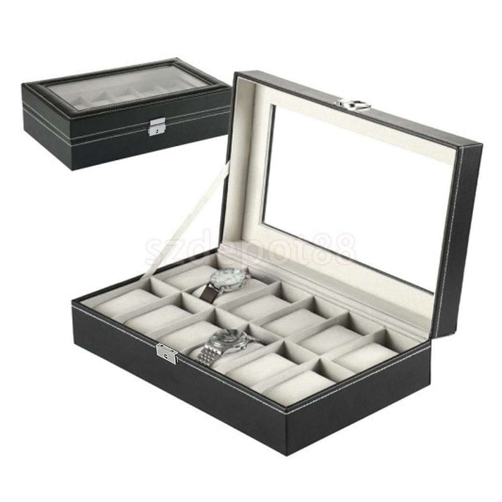 Black Leather 12 Slots Grid Watch Waistwatch Jewelry Display Storage