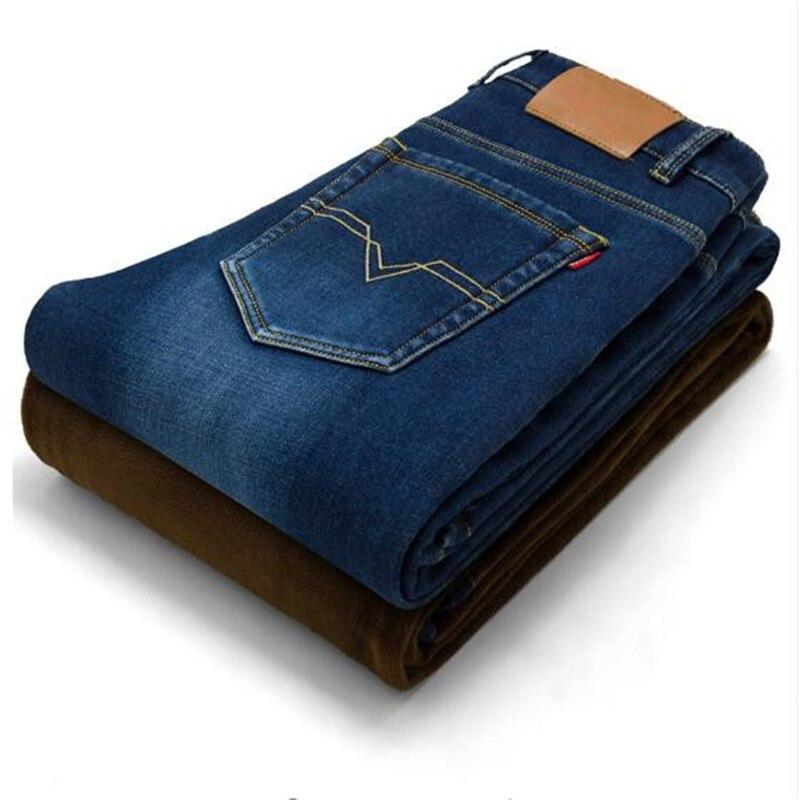 2017 Winter New Warm Jeans Men 's Fashion Elastic Stretch Plus Small Elastic Feet Pants Casual Male Slim Denim Trousers