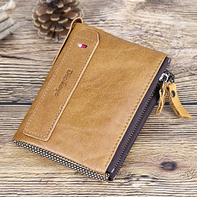 Купить с кэшбэком DICIHAYA Hot!! Genuine Leather Men Wallets Credit Business Card Holders Double Zipper Cowhide Leather Wallet Soft Purse Carteira