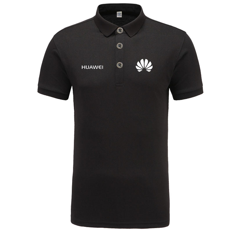 Huawei logo   Polo   Shirt Men Brand Clothes Solid Color   Polos   Shirts Casual Cotton Short Sleeve   Polos