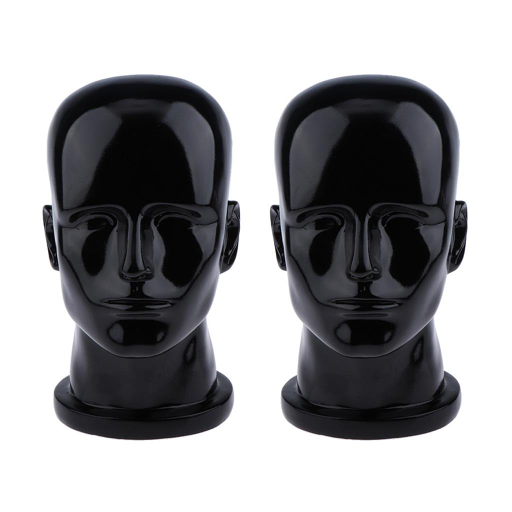 2x réaliste homme Mannequin tête perruque se tient casque lunettes présentoir Stand