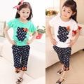 Da criança Do Bebê Dos Miúdos Meninas Equipar Roupas T-shirt de Impressão Tops + Calças Dot Calças 2 PCS Set Tops vestuário infantil conjuntos