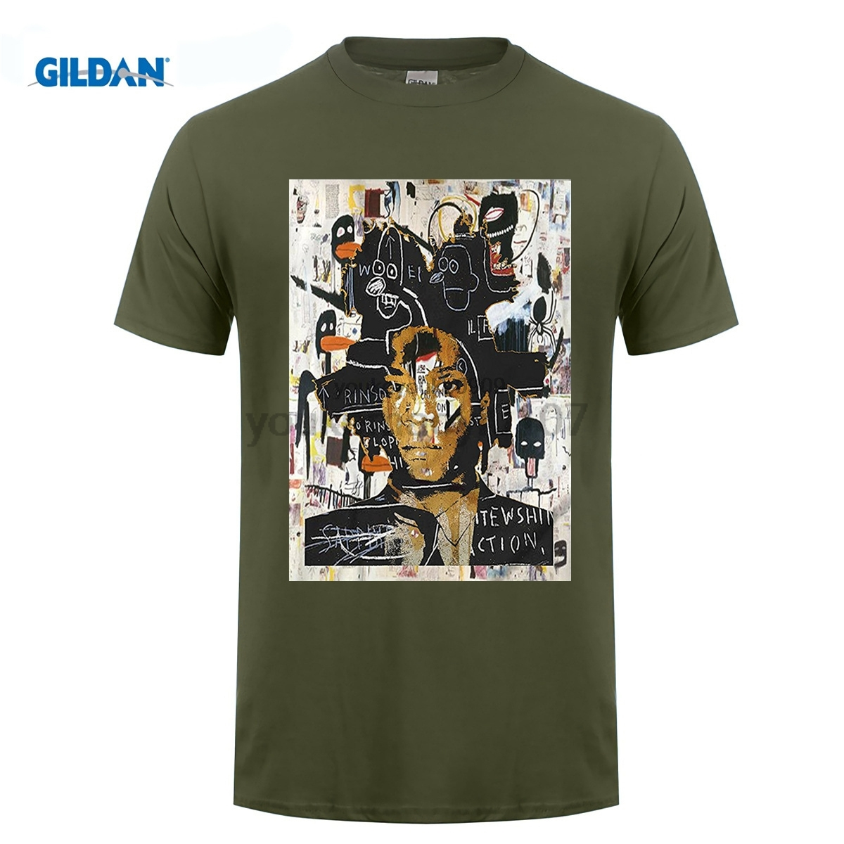GILDAN New Arrival Gildan Crew Neck Short-Sleeve Tall Jean Michel Basquiat Self Portrait T Shirt